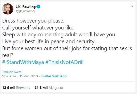 jk rowling tweet transfobico