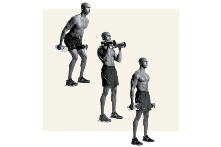 ejercicios de cuerpo completo, mancuerna, curl