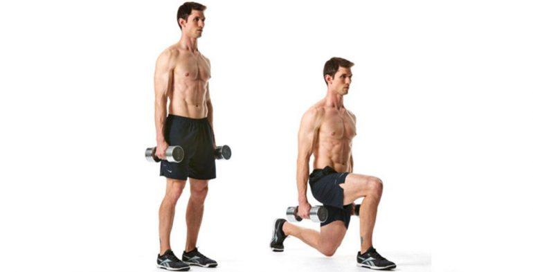 ejercicios con mancuerna, desplantes con peso