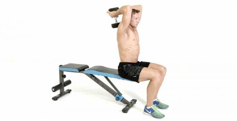 copa a dos manos, ejercicios con mancuerna, extensión de tríceps