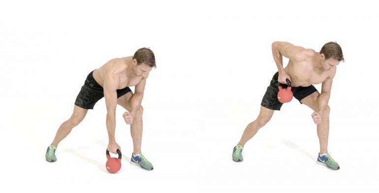 remo con mancuerna o ketbell, ejercicios con mancuerna