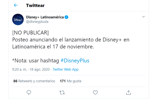 disney+ twitter 17 de noviembre