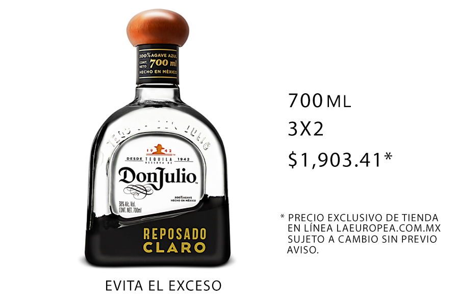tequila Don Julio reposado claro botellas para tu bar