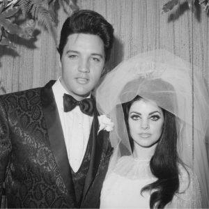Elvis y Priscila Presley en su boda